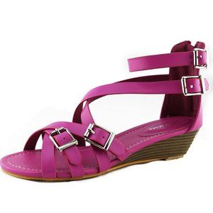 Low Wedge Strappy Sandals Hot Pink